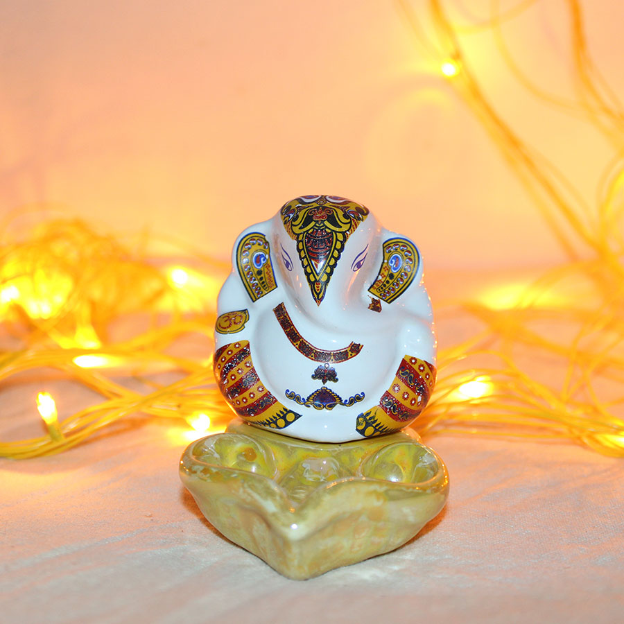 Lord  Ganesha with diya  work in Rajasthani design