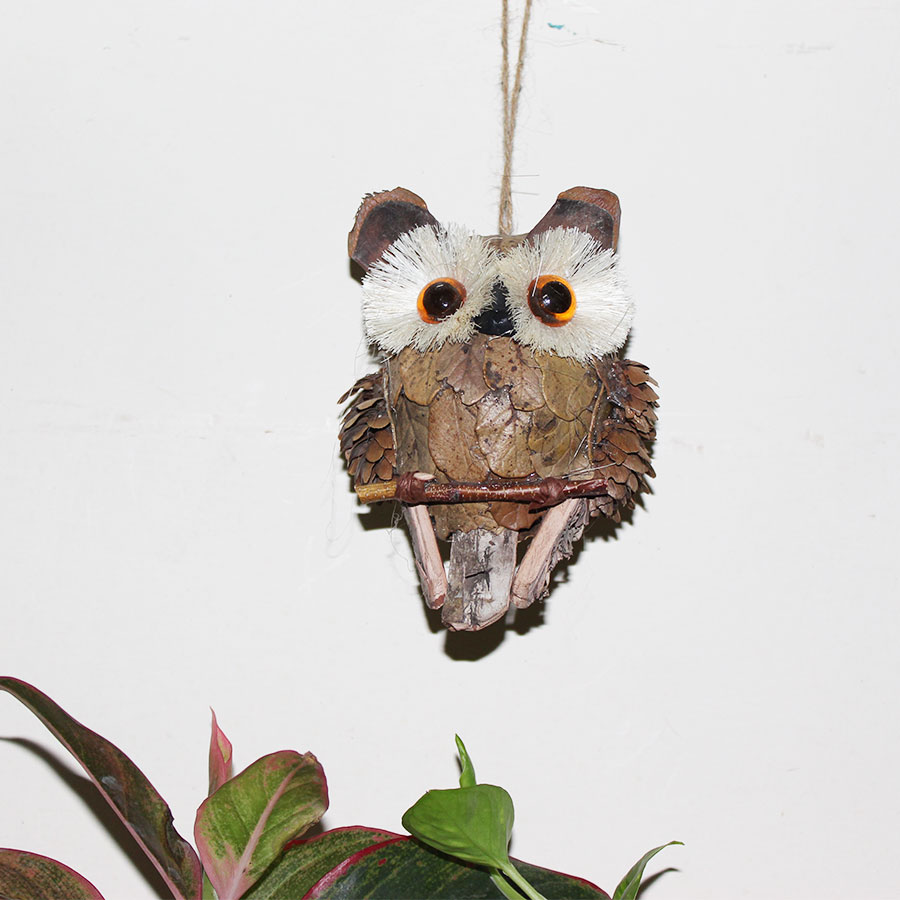 handcrafted eco friendly hanging owl