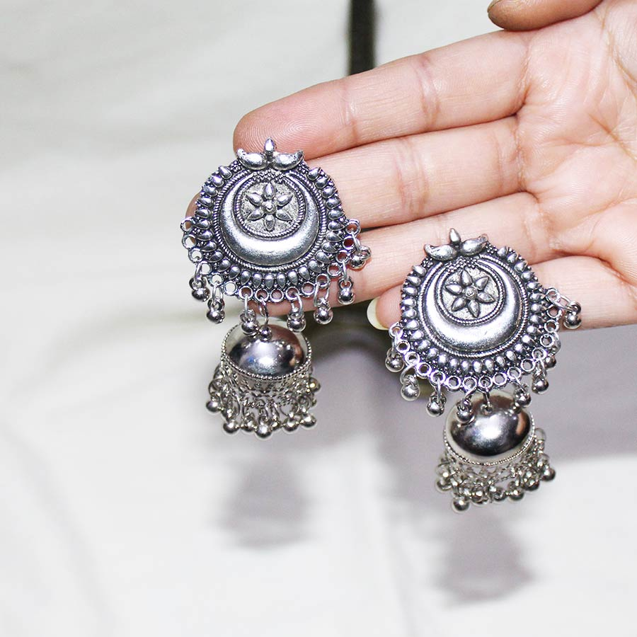 Handcrafted Silver-Plated Jhumke