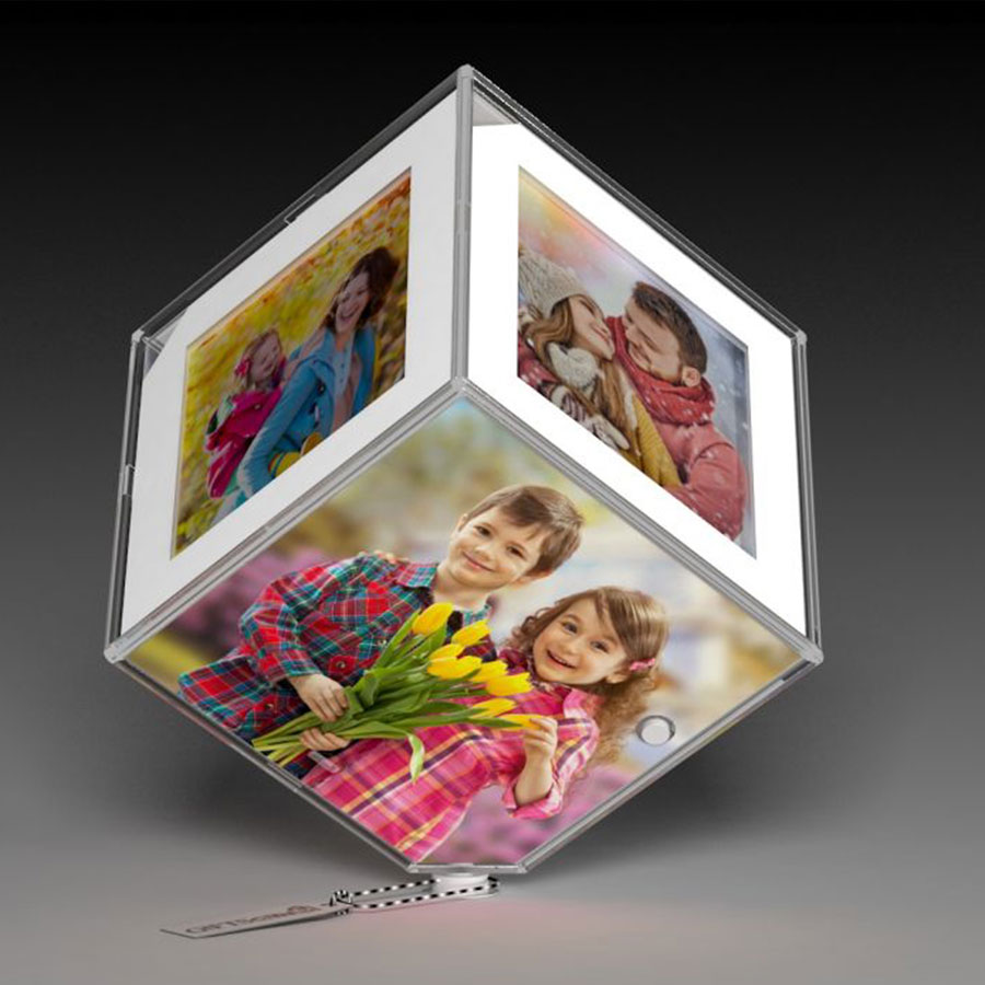 White Color Led Rotating Photo Cube/Frame