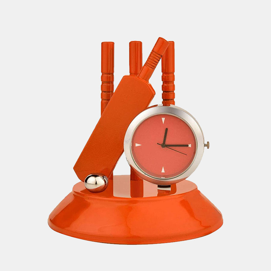 Orange Cricket Set Table Clock for Home Office and Gifting