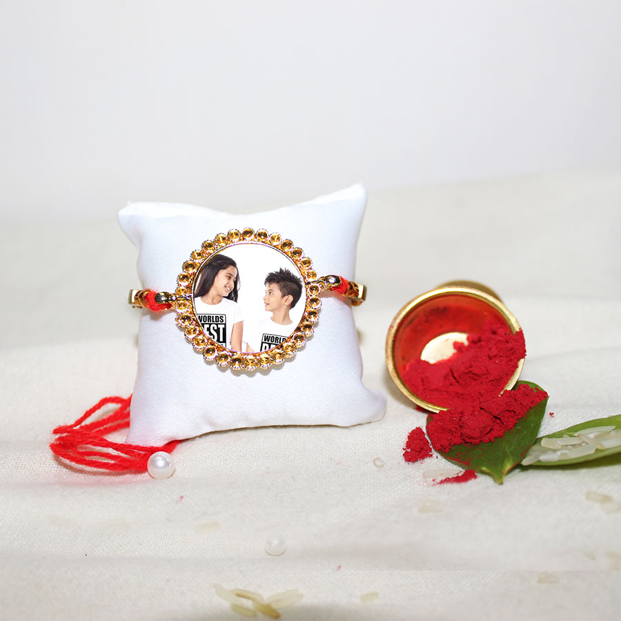 Personalized Metal Rakhi With Roli Chawal and Bowl