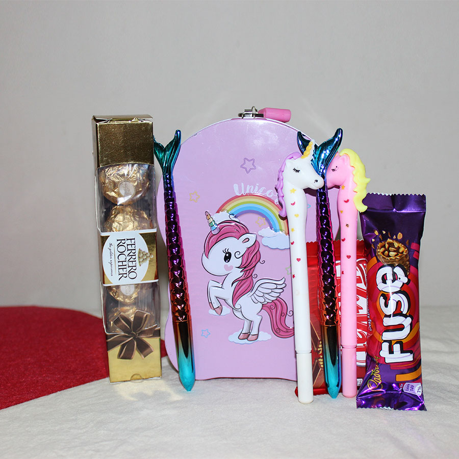 Piggy Bank Cu Box full of  Unicorn, Mermaid Pen and Ferrero Rocher Chocolates