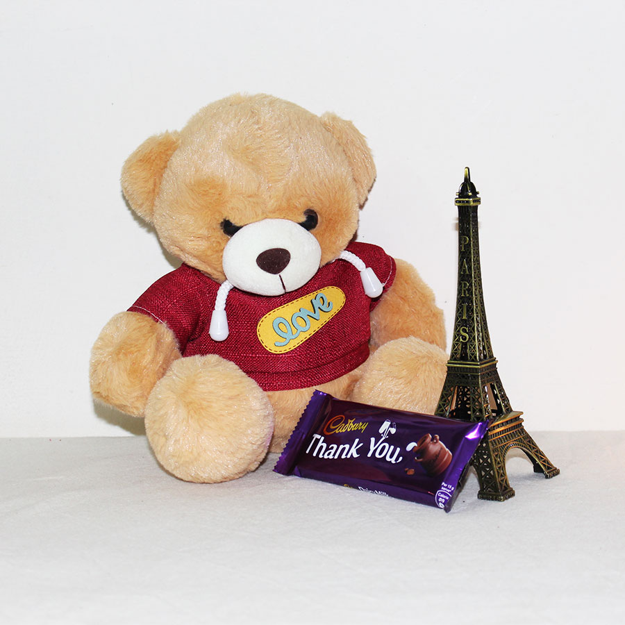 Teddy, chocolate with Eiffel Tower Gift Hamper