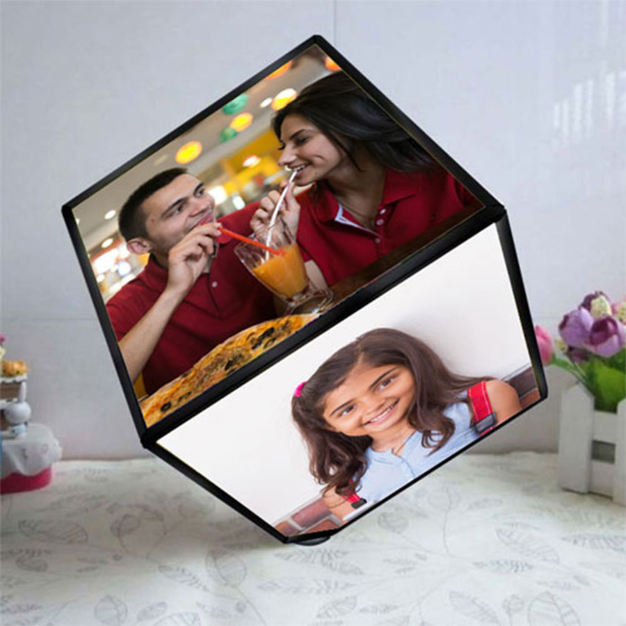 White Color Rotating Photo Cube/Frame
