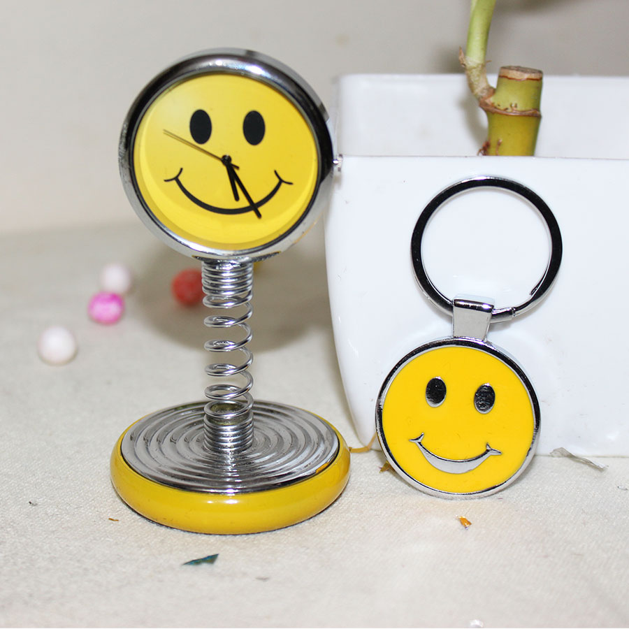 Yellow smiley spring clock with smiley  keychain