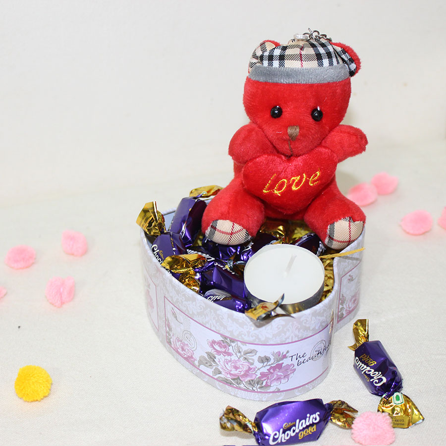 Teddy with Chocolates and Tea light come in a heart shape tin box