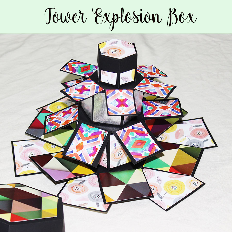 Tower Hexagon Explosion Box - For your loved ones. Best for Birthdays, Anniversary, Weddings